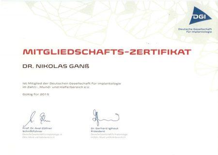 DGI-Zertifikat Dr. Ganß